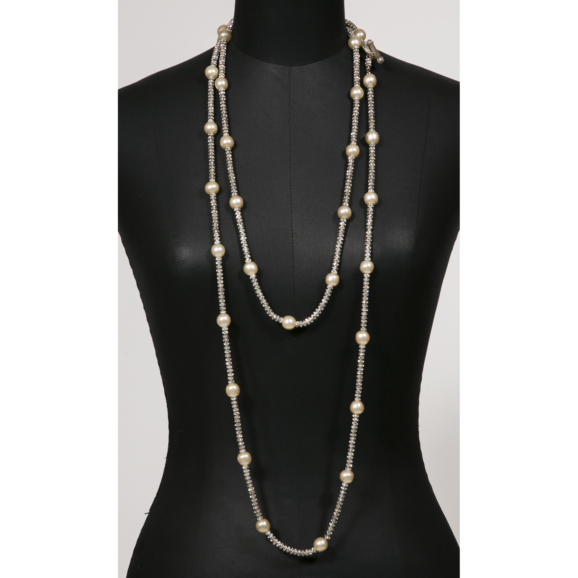 Chanel Sautoir Tr 232 S Long Perles Et Strass Vintage