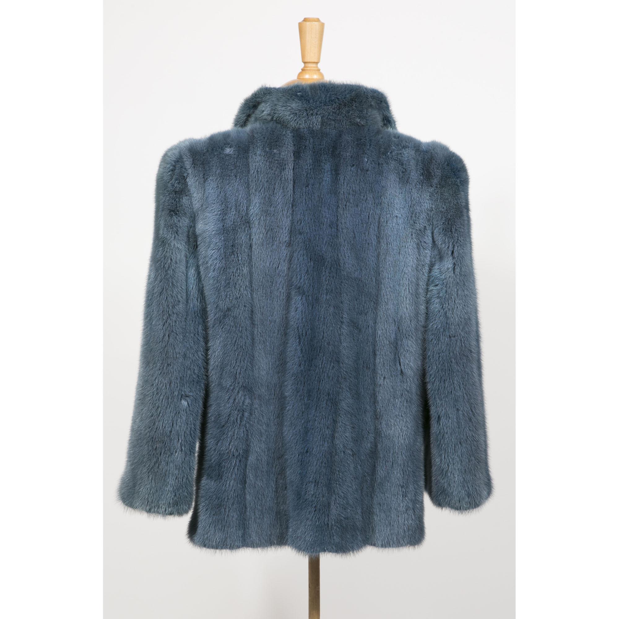 andr sauzaie veste en vison bleu vintage fashion paris. Black Bedroom Furniture Sets. Home Design Ideas